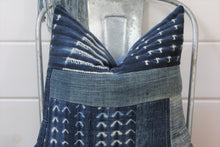 Load image into Gallery viewer, Indigo Shibori Patchwork Pillow