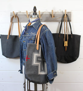 Washed Canvas +Leather Tote