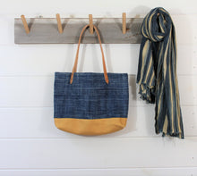 Load image into Gallery viewer, Indigo + Leather Tote