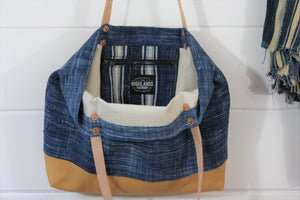 Indigo + Leather Tote