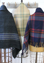 Load image into Gallery viewer, Wool Plaid Blanket Poncho