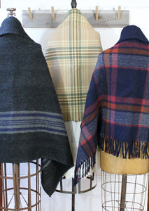 Wool Plaid Blanket Poncho