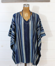 Load image into Gallery viewer, Indigo Stripe Poncho