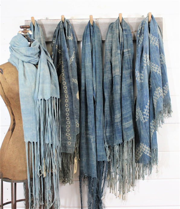 Light Indigo Fringe Scarves