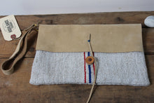 Load image into Gallery viewer, Stripe Grain Sack + Leather Pouch