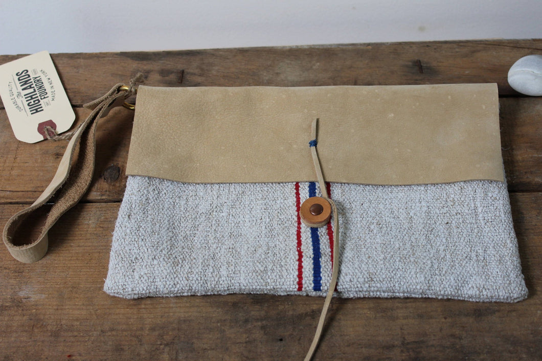 Stripe Grain Sack + Leather Pouch