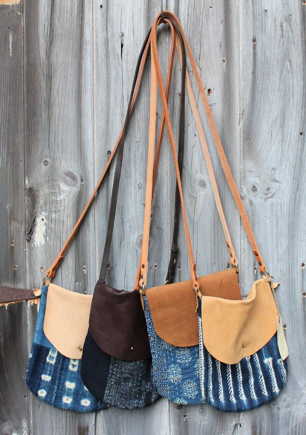 Indigo + Leather Crossbody Bags