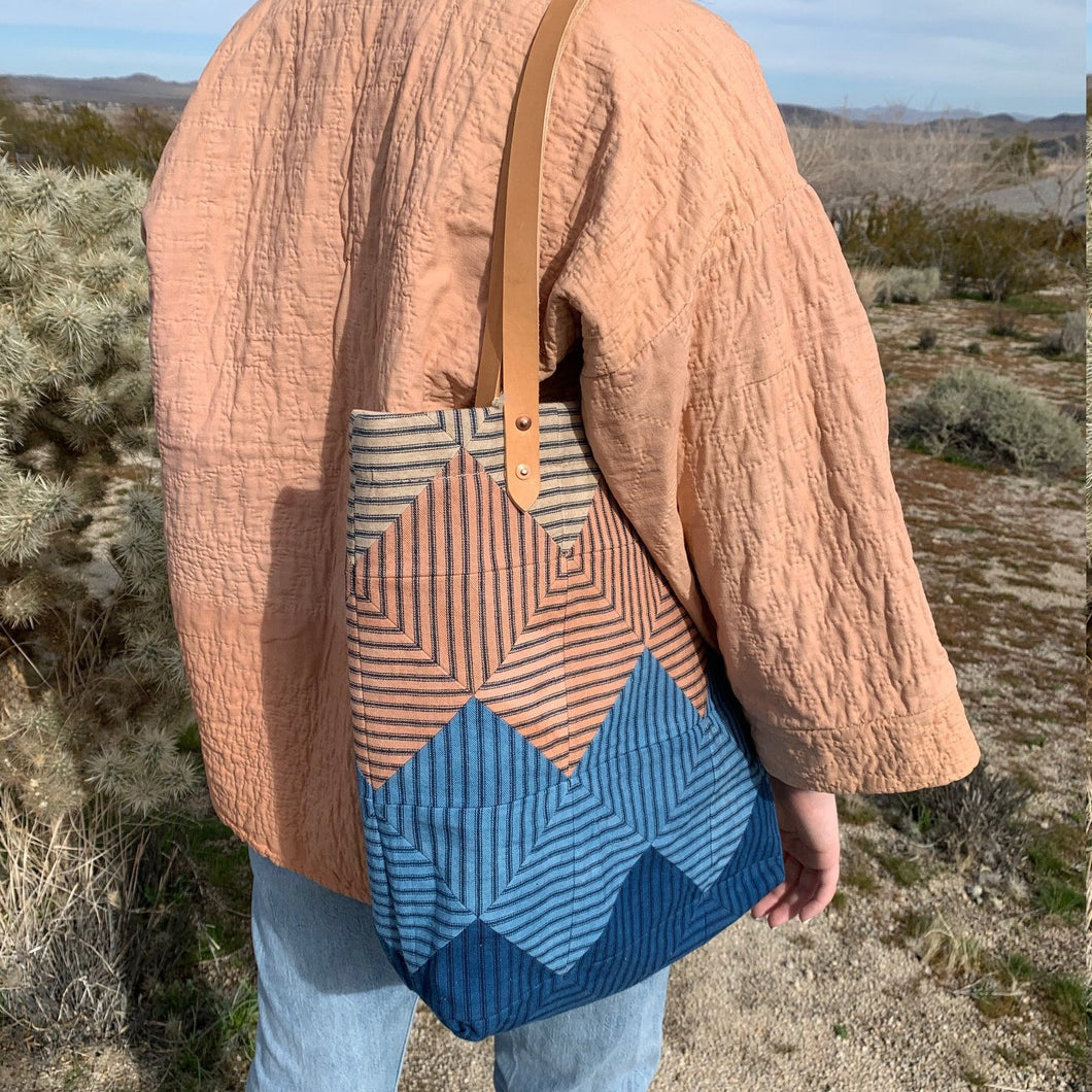 Natural Dyed Ticking Tote