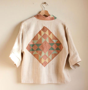 Natural Mud Cloth Quilt Back Jacket