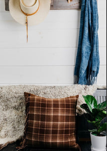Brown Plaid Fringe Pillow Cover