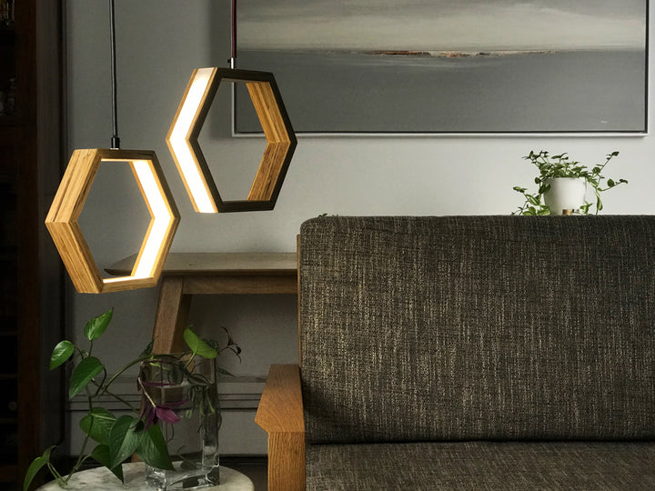 Hexagon pendant lights customizable sizes in walnut and maple wood options!