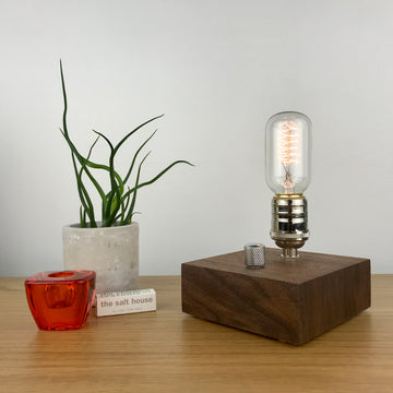 BLOCK - Black Walnut and NICKLE with Dimmer | modern industrial dimmable wood table and desk lamp with Edison bulb