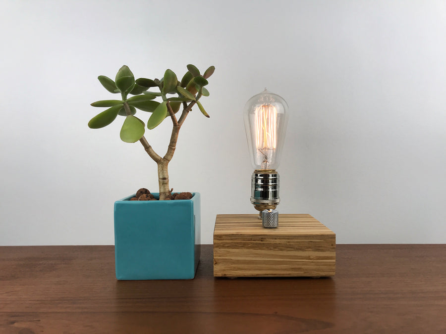 BLOCK - Sustainable Bamboo made from Recycled Chopsticks!  Modern industrial table lamp with dimmer