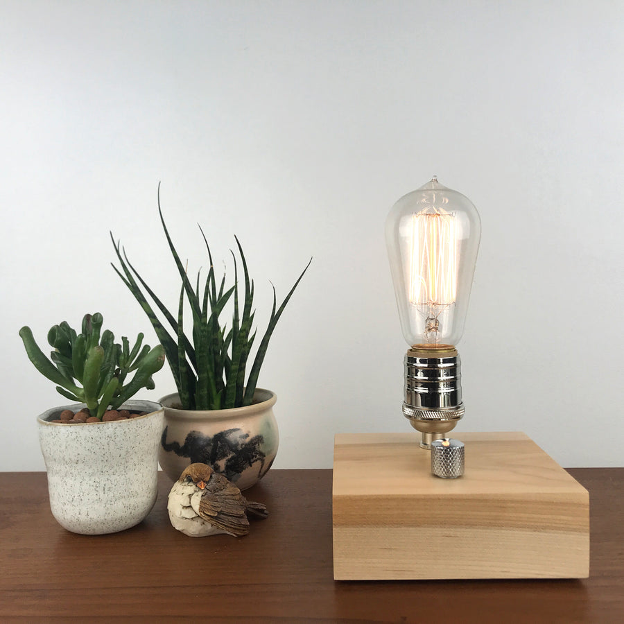 BLOCK - Maple and Nickle with Dimmer | modern industrial dimmable wood table and desk lamp with Edison bulb