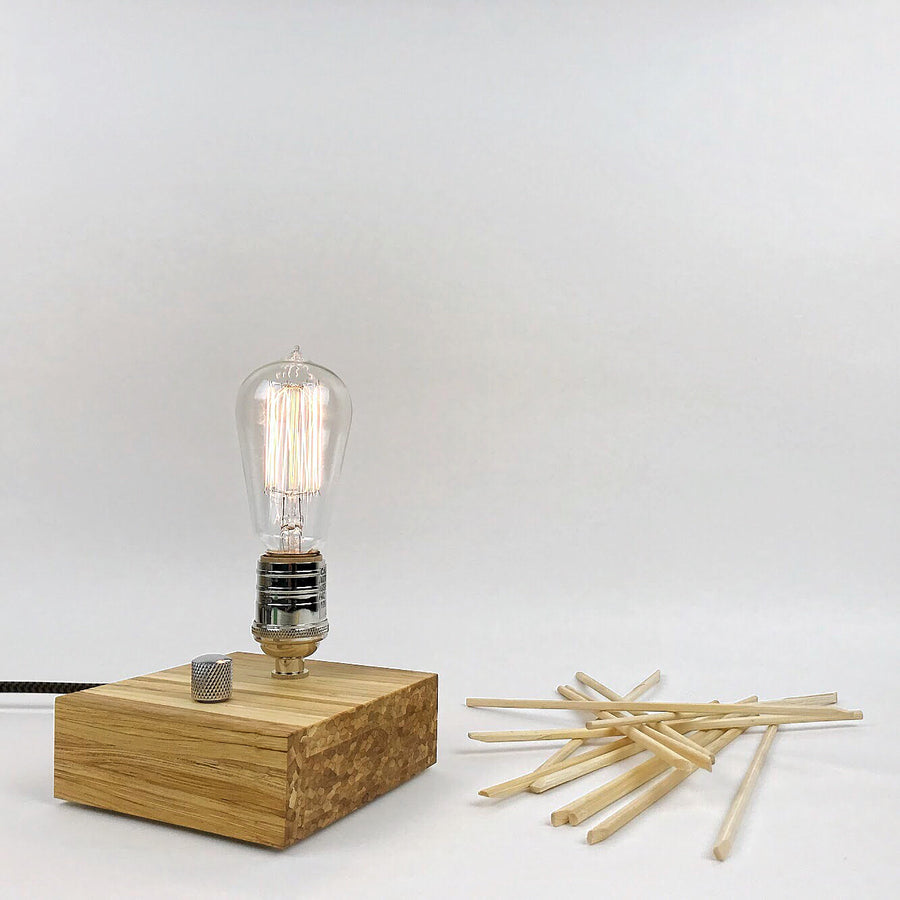 BLOCK - Sustainable Bamboo made from Recycled Chopsticks! Modern industrial table and desk lamp with dimmer and Edison bulb