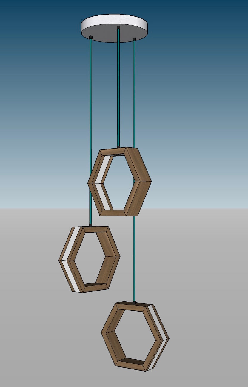 HEXAGON - dimmable LED Walnut and White Oak wood pendant light cluster #7 - Ready to Ship!