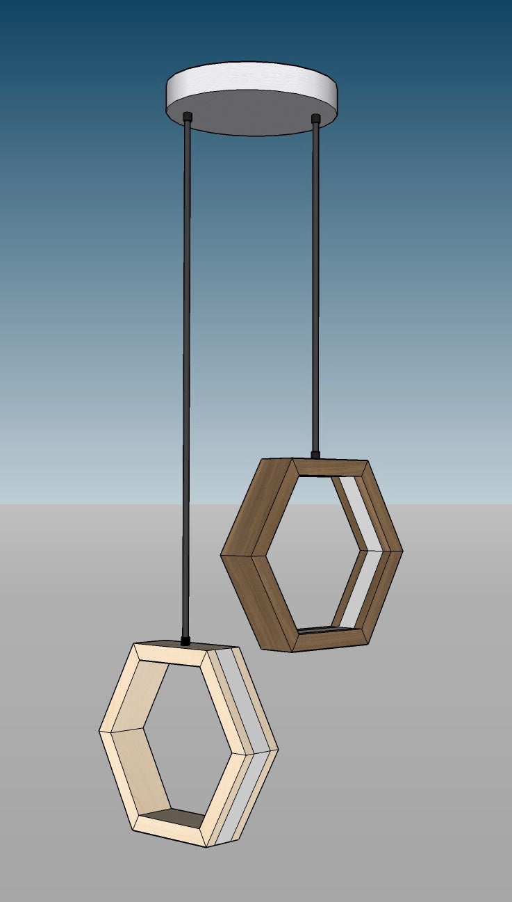 HEXAGON - LED and Edison Bulb pendant lights in Walnut, Maple and Bamboo