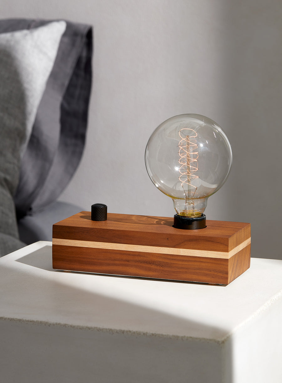 VANITY - Black Walnut with Maple Stripe and Dimmer | modern industrial dimmable wood table and desk lamp with Edison bulb