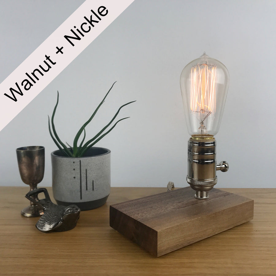 DAVY - Black Walnut and BRASS with Dimmer | dimmable wood table & desk lamp with Edison light bulb