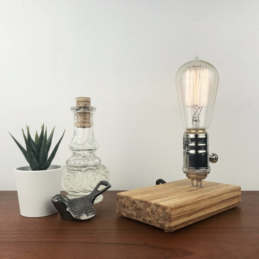 DAVY - Sustainable Bamboo made from Recycled Chopsticks! Modern industrial table and desk lamp with dimmer and Edison bulb