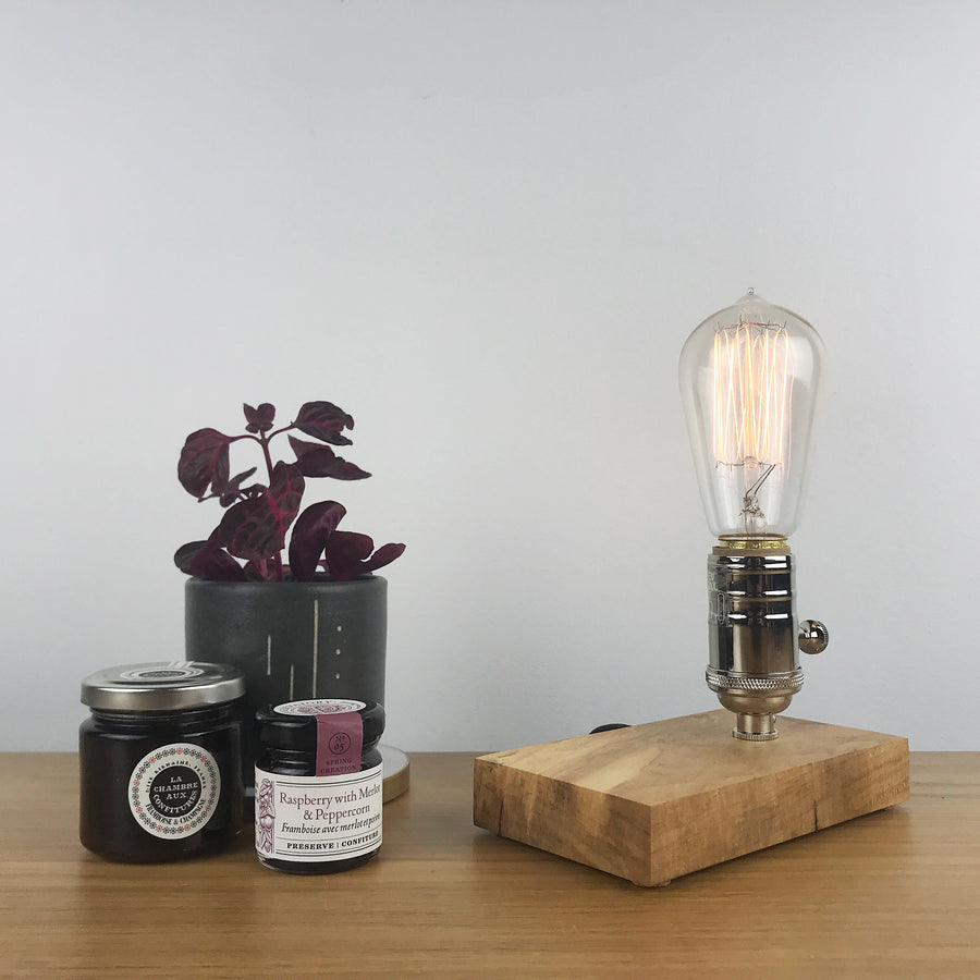 DAVY - Maple | modern industrial table lamp with dimmer and Edison bulb