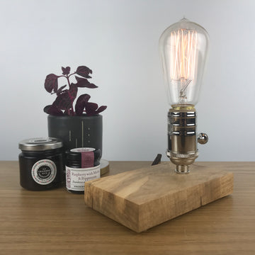 DAVY - Maple and NICKLE with Dimmer | modern industrial dimmable wood table and desk lamp with Edison bulb