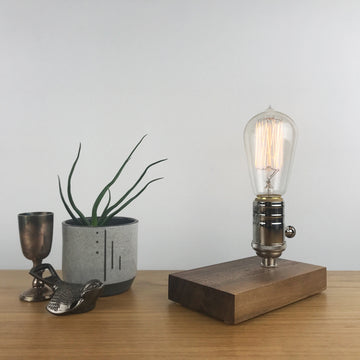 DAVY - Black Walnut and NICKLE with Dimmer | modern industrial dimmable wood table and desk lamp with Edison bulb