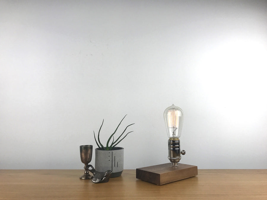 DAVY - Black Walnut and NICKLE with Dimmer | dimmable wood table & desk lamp with Edison light bulb