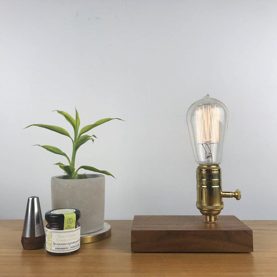 DAVY - Black Walnut | modern industrial table lamp with dimmer and Edison bulb