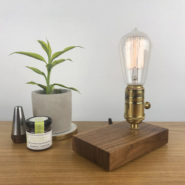 DAVY - Black Walnut and BRASS with Dimmer | modern industrial dimmable wood table and desk lamp with Edison bulb
