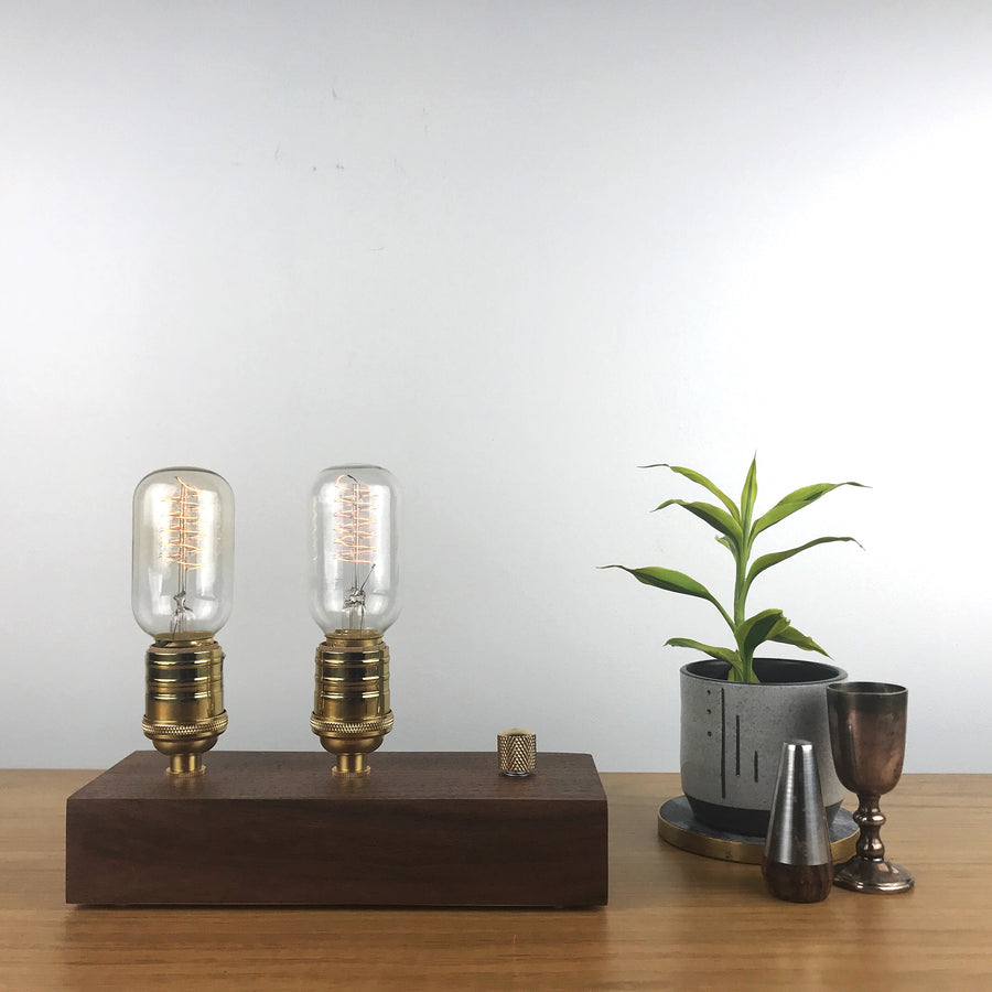 EDISON Double - Black Walnut and BRASS with Dimmer | modern industrial dimmable wood table and desk lamp with Edison bulb