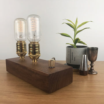 EDISON Double - Walnut and BRASS with Dimmer | dimmable wood table & desk lamp with Edison bulb