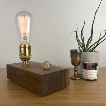 EDISON Single - Black Walnut and BRASS with Dimmer | modern industrial dimmable wood table and desk lamp with Edison bulb
