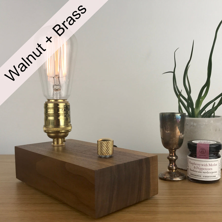 EDISON Single - Black Walnut and BRASS with Dimmer | dimmable wood table & desk lamp with bulb