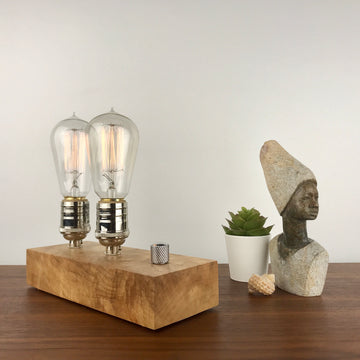 EDISON Double - Maple and NICKLE with Dimmer | modern industrial dimmable wood table and desk lamp with Edison bulb