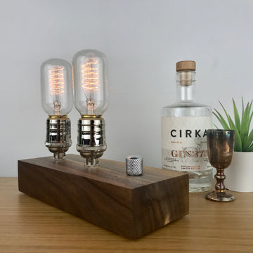 EDISON Double - Black Walnut and NICKLE with Dimmer | modern industrial dimmable wood table and desk lamp with Edison bulb