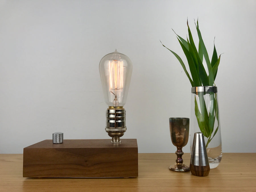 EDISON Single - Black Walnut and NICKLE with Dimmer | dimmable wood table & desk lamp with bulb