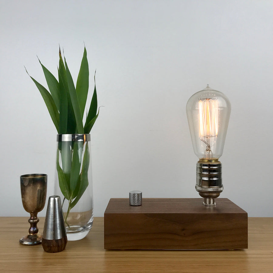 EDISON Single - Black Walnut | modern industrial table lamp with dimmer and Edison bulb