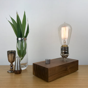 EDISON Single - Black Walnut and NICKLE with Dimmer | modern industrial dimmable wood table and desk lamp with Edison bulb