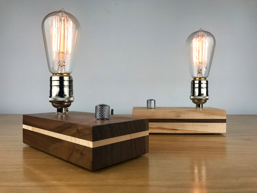EDISON STRIPE - Maple with Black Walnut stripe | wood table lamp with dimmer and Edison bulb