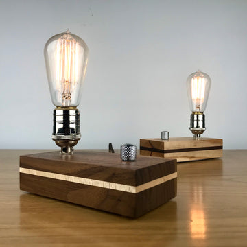 EDISON Stripe - Black Walnut or Maple with Stripe and Dimmer | modern industrial dimmable wood table and desk lamp with Edison bulb