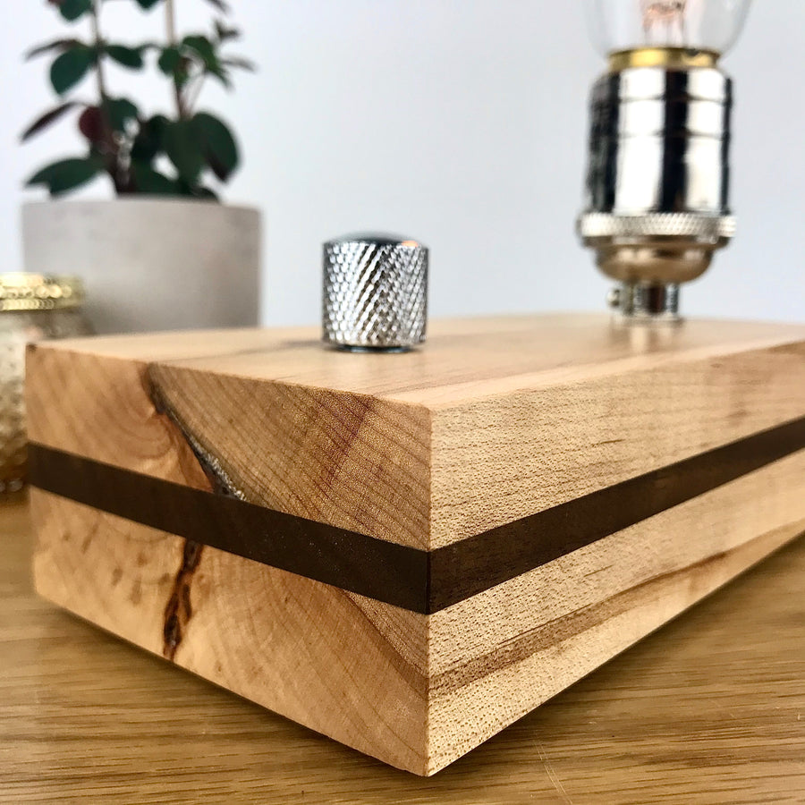 EDISON Stripe - Maple with Walnut Stripe and Dimmer | dimmable wood table and desk lamp with bulb