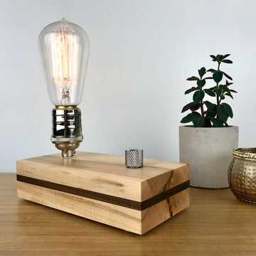 EDISON Stripe - Maple with Black Walnut Stripe and Dimmer | modern industrial dimmable wood table and desk lamp with Edison bulb
