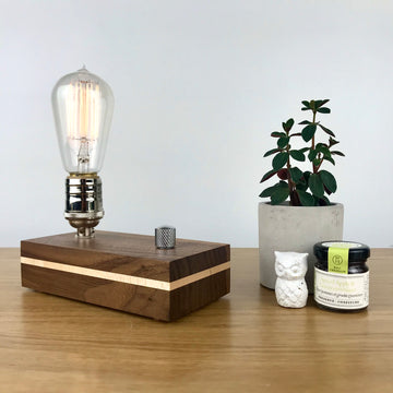 EDISON STRIPE - Black Walnut with Maple stripe | modern wood table lamp with dimmer and Edison bulb