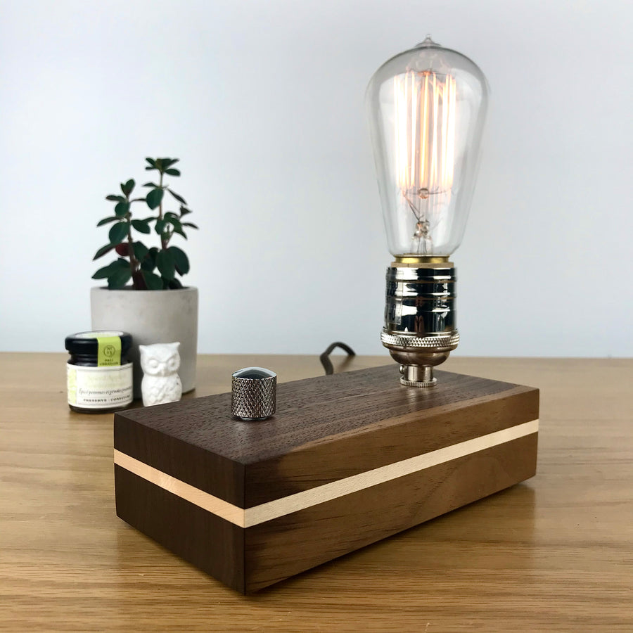 EDISON Stripe - Walnut with Maple Stripe and Dimmer | dimmable wood table and desk lamp with bulb