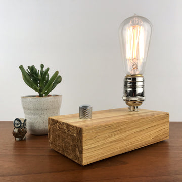 EDISON Single - Sustainable Bamboo made from Recycled Chopsticks! Modern industrial table and desk lamp with dimmer and Edison bulb