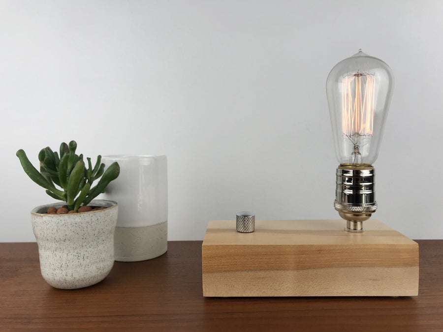 EDISON Single - Maple and NICKLE with Dimmer | dimmable wood table & desk lamp with bulb