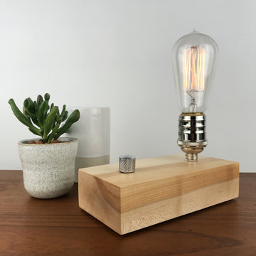EDISON Single - Maple and NICKLE with Dimmer | modern industrial dimmable wood table and desk lamp with Edison bulb