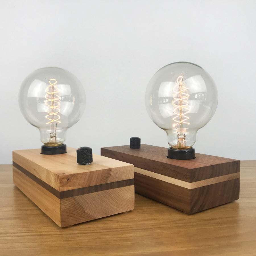 VANITY - Maple or Black Walnut Stripe and Dimmer | modern industrial dimmable wood table and desk lamp with Edison bulb