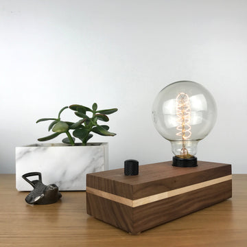 VANITY - Black Walnut with Maple Pinstripe | table or desk lamp with dimmer and Edison bulb